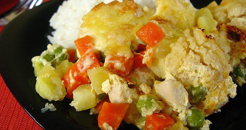 Zöldséggel rakott csirkemell falatkák